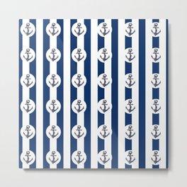 Navy vintage blue white lines summer vibe- anchor Metal Print