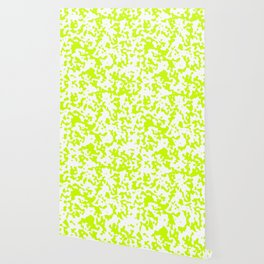Spots - White and Fluorescent Yellow Wallpaper