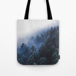 Foggy Blue Purple Mountain hill Pine Trees Landscape Nature Photography Minimalist Modern Art Tote Bag