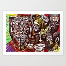 abstract dark faces shouting (amnesia) Art Print