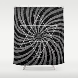 Metatron's Cube Grayscale Spiral of Light Shower Curtain