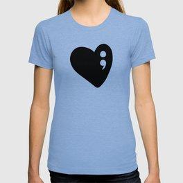 Semicolon Heart for mental health awareness T-shirt