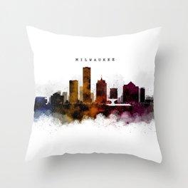 Milwaukee Watercolor Skyline Throw Pillow