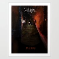 coraline Art Prints featuring Coraline by Amanda Thompson