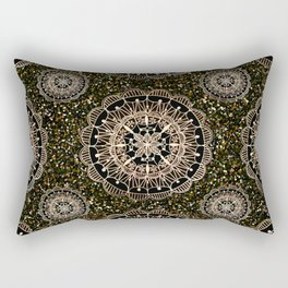 Rose Gold Mandalas with Brown and Copper Sparkles Rectangular Pillow