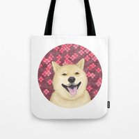 shiba Tote Bags featuring pixel shiba by desks.lava
