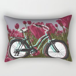 Ridin' through Tulips Rectangular Pillow