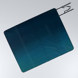 Navy blue teal hand painted watercolor paint ombre Picnic Blanket