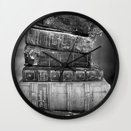 Antique leather-bound books, novels, poetry black and white photograph / vintage black and white photography Wall Clock