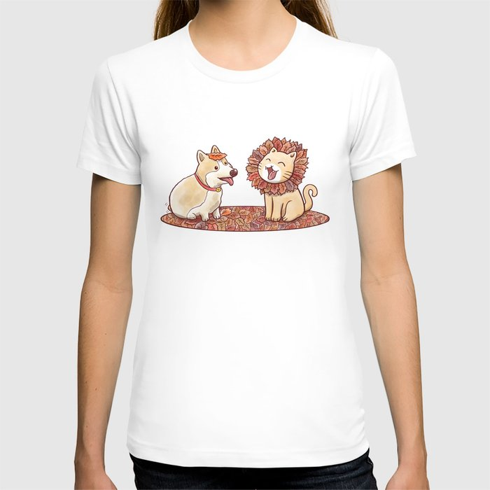 Corgi dog and a cat imitating lion with mane made of autumn leaves T-shirt