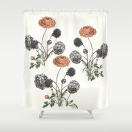 Watercolour of Ranunculus Shower Curtain