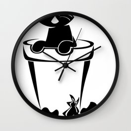 Silhouette In The Flower Pot Wall Clock