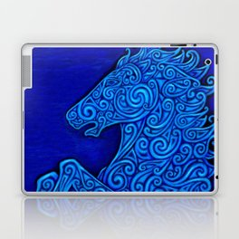 Blue Celtic Horse Abstract Spirals Laptop & iPad Skin