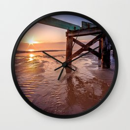 Biloxi Beach Low Tide Sunrise Wall Clock