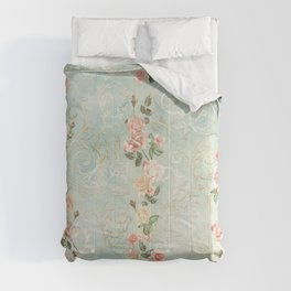 seamless, pattern, with delicate roses and monograms, shabby chic, retro. Comforters