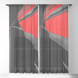 Bold Red Black Abstract Pattern Sheer Curtain