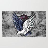 shingeki no kyojin Area & Throw Rugs featuring Wings of Freedom by jpmdesign