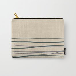 Magic Dust Purple, Night Watch & Juniper Berry Green Horizontal Lines on Alpaca Wool Cream Color Carry-All Pouch