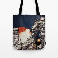 queens of the stone age Tote Bags featuring Stone Age by Collage Calamity