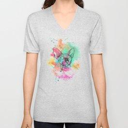 Watercolor Sphynx Unisex V-Neck