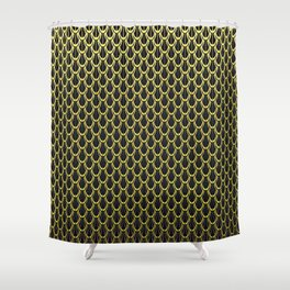 Chain Link Gleaming Golden Metal Pattern Shower Curtain