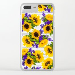 Rustic white wood purple yellow sunflower floral Clear iPhone Case
