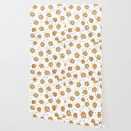 Modern chocolate chips cookies watercolor pattern Wallpaper