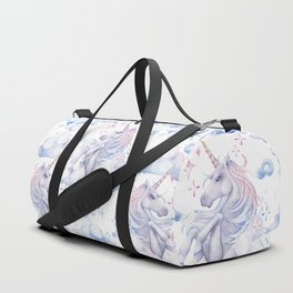 Watercolor unicorn in the sky Duffle Bag