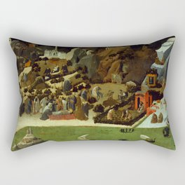"""Fra Angelico (Guido di Pietro) """"Scenes from the Lives of the Desert Fathers (Thebaid)"""" detail Rectangular Pillow"""