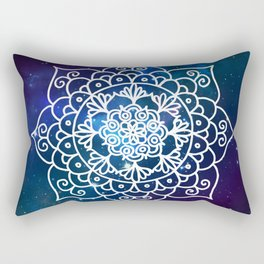 Galaxy Mandala Purple Blue Space Nebula Flower Rectangular Pillow
