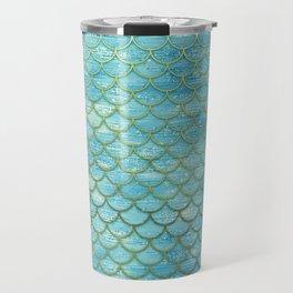 Blue and gold mermaid scales Travel Mug