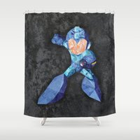 video game Shower Curtains featuring Mega Man classic, Retro video game. by Lewys Williams
