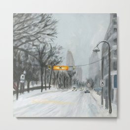 Esplanade Snowstorm Metal Print