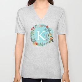 Personalized Monogram Initial Letter K Blue Watercolor Flower Wreath Artwork Unisex V-Neck