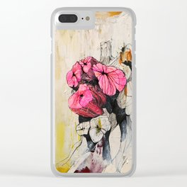 Pink wood stumps Clear iPhone Case