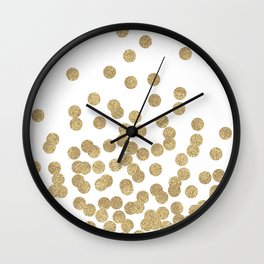 Gold Glitter Dots in scattered pattern Wall Clock