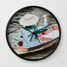 Small Thai longtailboat in water ways near Bangkok Wall Clock