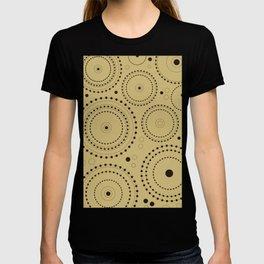 Circles in Circles Design Black on Light Gold T-shirt
