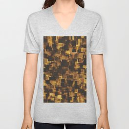 geometric square pattern abstract in brown and black Unisex V-Neck