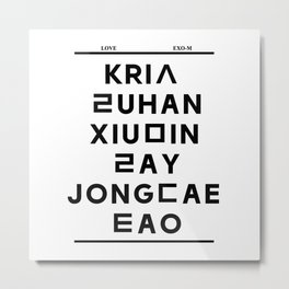 """EXO M- Hangeul: """"Love City"""" Inspired (Names-Front Only) Metal Print"""