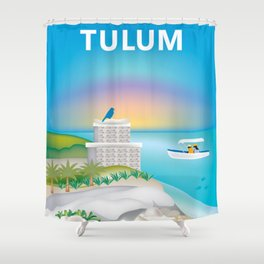 Tulum, Mexico - Skyline Illustration by Loose Petals Shower Curtain
