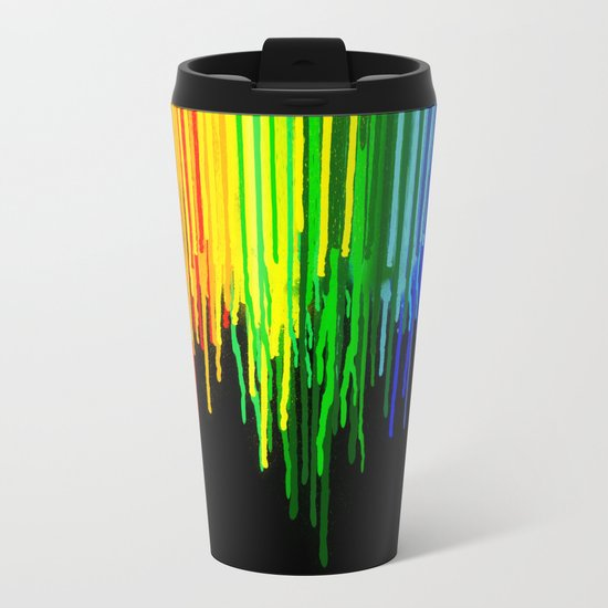 Rainbow Paint Drops on Black Metal Travel Mug