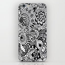 Mushroom madness black and white iPhone Skin