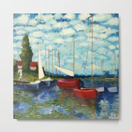 """Artistic Impression of Claude Monet's """"Red Boats at Argenteuil"""" Metal Print"""