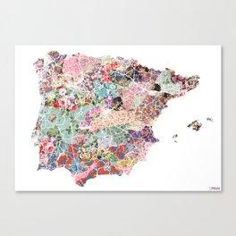 Spain map flowers composition Canvas Print