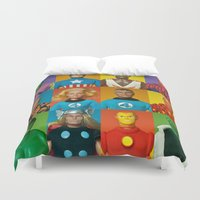 super heroes Duvet Covers featuring Action Figure Grid: World's Greatest Super Heroes by CantinaDanny