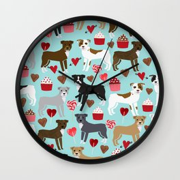 Pitbull dog breed love valentines day cupcakes hearts dog breeds pibble gifts Wall Clock
