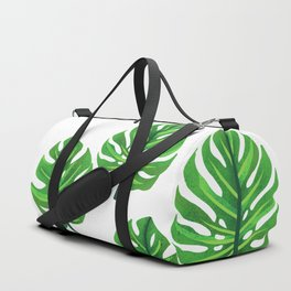 green monstera leaves illustration Duffle Bag