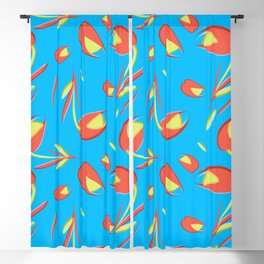 Gentle flowers and tulips on azure background. Blackout Curtain
