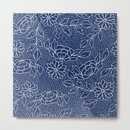 White and blue Japanese flowers pattern Metal Print